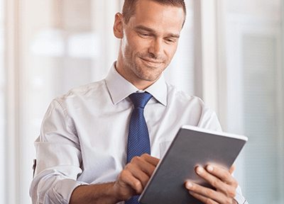 Man connecting using smart device