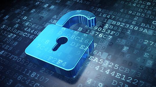Blue digital padlock locking VoIP data